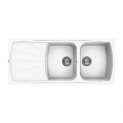 Lavello cucina da incasso in Granitek bianco a 2 vasche e gocciolatoio sinistra LGL50068 di Elleci
