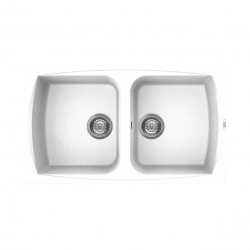 Lavello cucina da incasso 86x50 in Granitek bianco a doppia vasca LGL45068 di Elleci