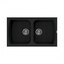 Lavello cucina da incasso 86x50 in Granitek nero a doppia vasca LGL45040 di Elleci