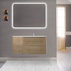 Mobile da bagno Dion 90 cm tabacco opaco con lavabo (DX) + specchio lampada retroilluminato led e altoparlante bluetooth