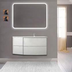 Mobile da bagno Dion 90 cm bianco opaco con lavabo (DX) + specchio lampada retroilluminato led e altoparlante bluetooth
