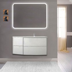 Mobile da bagno Dion 90 cm rovere sbiancato con lavabo (DX) + specchio lampada retroilluminato led e altoparlante bluetooth