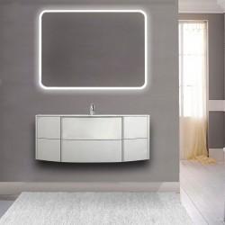 Mobile da bagno Dion sospeso 120 cm bianco opaco con specchio lampada retroilluminato led e altoparlante bluetooth