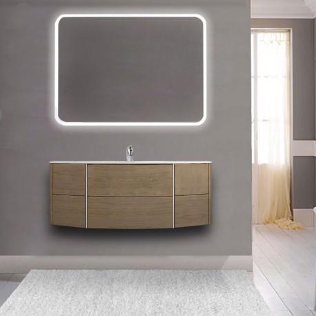 Mobile da bagno Dion sospeso 120 cm rovere tabacco con specchio lampada retroilluminato led e altoparlante bluetooth