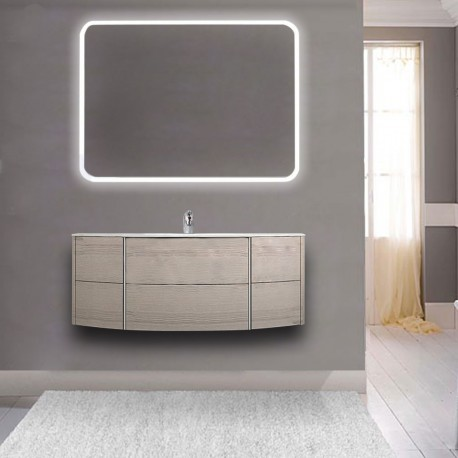 Mobile da bagno Dion sospeso 120 cm rovere sbiancato con specchio lampada retroilluminato led e altoparlante bluetooth