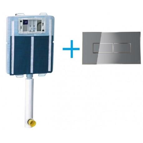 Cassetta di scarico da incasso Idea Blu con igienizzatore + Placca Style Argento Magnetica Its todini
