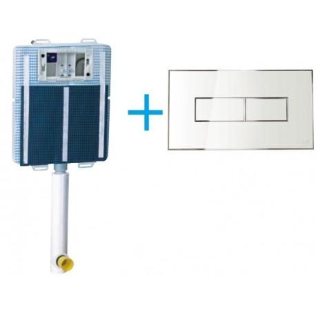 Cassetta di scarico da incasso Idea Blu con igienizzatore + Placca Style Bianca Magnetica Its todini