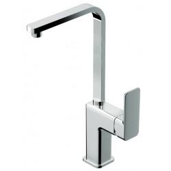 Miscelatore ottone cromato per lavabo o lavello con canna piatta orientabile Tono di Eurorama