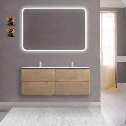 Mobile da bagno Dion a doppio lavabo da 120 cm rovere tabacco con specchio lampada retroilluminato led e altoparlante bluetooth