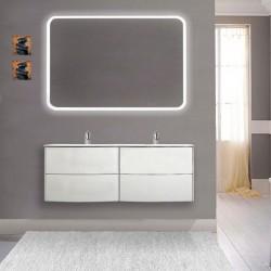 Mobile da bagno Dion a doppio lavabo da 120 cm bianco opaco con specchio lampada retroilluminato led e altoparlante bluetooth