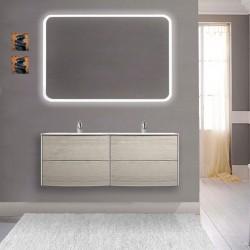 Mobile da bagno sospeso Dion doppio lavabo da 120 cm rovere sbiancato con specchio retroilluminato led e altoparlante bluetooth