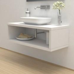 Top Bagno con vano portaoggetti Larghezza 55 x Profondità 60 cm in abete per lavabi d'appoggio
