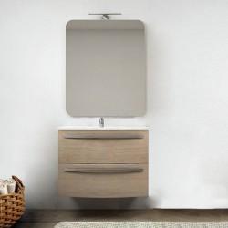Mobile da bagno Vega sospeso 75 cm rovere tabacco + specchio con lampada e retroilluminazione led ad accensione touch