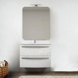 Mobile da bagno Vega sospeso 75 cm bianco frassino + specchio con lampada e retroilluminazione led ad accensione touch