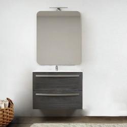 Mobile da bagno Vega sospeso 75 cm grigio scuro venato + specchio con lampada e retroilluminazione led ad accensione touch