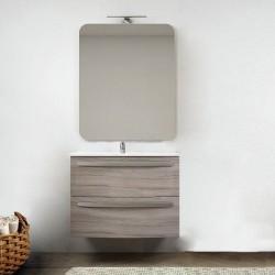 Mobile da bagno Vega sospeso 75 cm larice + specchio con lampada e retroilluminazione led ad accensione touch