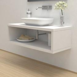 Top Bagno con vano portaoggetti Larghezza 105 x Profondità 50 cm in abete per lavabi d'appoggio