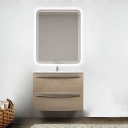 Mobile da bagno Lux 75 cm rovere tabacco curvo con lavabo in ceramica + specchio retroilluminato led e altoparlante bluetooth