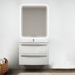 Mobile da bagno Lux 75 cm bianco frassion curvo con lavabo in ceramica + specchio retroilluminato led e altoparlante bluetooth