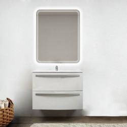 Mobile da bagno Lux 75 cm bianco lucido curvo con lavabo in ceramica + specchio retroilluminato led e altoparlante bluetooth
