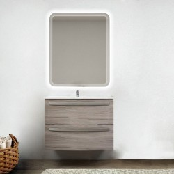 Mobile da bagno Lux 75 cm larice curvo con lavabo in ceramica + specchio retroilluminato led e altoparlante bluetooth
