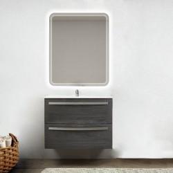 Mobile da bagno Lux 75 cm grigio scuro venato con lavabo in ceramica + specchio retroilluminato led e altoparlante bluetooth