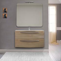 Mobile Vega 100 cm rovere tabacco con lavabo ceramica + specchio con lampada e retroilluminazione led + altoparlante bluetooth