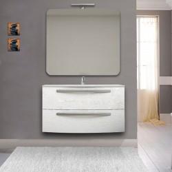 Mobile Vega 100 cm frassino bianco con lavabo ceramica + specchio con lampada e retroilluminazione led + altoparlante bluetooth