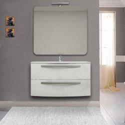 Mobile Vega 100 cm bianco lucido con lavabo ceramica + specchio con lampada e retroilluminazione led + altoparlante bluetooth