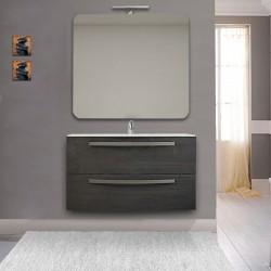 Mobile Vega 100 cm grigio scuro venato lavabo ceramica + specchio con lampada e retroilluminazione led + altoparlante bluetooth