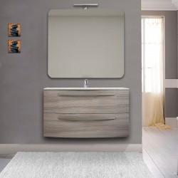 Mobile Bagno Vega 100 cm Larice con lavabo ceramica + specchio con lampada e retroilluminazione led + altoparlante bluetooth