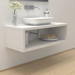 Top Bagno con vano portaoggetti Larghezza 130 x Profondità 55 cm in abete per lavabi d'appoggio