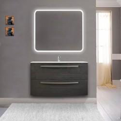 Mobile da bagno Vega 100 cm grigio scuro venato con lavabo in ceramica + specchio retroilluminato led e altoparlante bluetooth