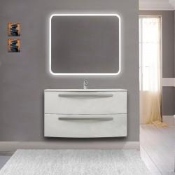 Mobile da bagno Vega 100 cm bianco lucido con lavabo in ceramica + specchio retroilluminato led e altoparlante bluetooth