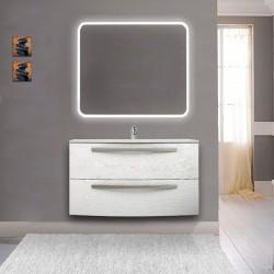 Mobile da bagno Vega 100 cm bianco frassino con lavabo in ceramica + specchio retroilluminato led e altoparlante bluetooth