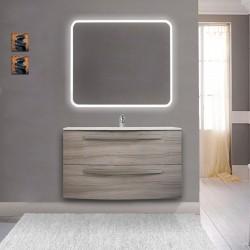 Mobile da bagno Vega 100 cm larice con lavabo in ceramica + specchio retroilluminato led e altoparlante bluetooth