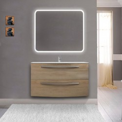 Mobile da bagno Vega 100 cm rovere tabacco con lavabo in ceramica + specchio retroilluminato led e altoparlante bluetooth