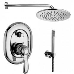 Composizione doccia Paffoni Flavia con Soffione Ellittico, miscelatore con deviatore e set duplex