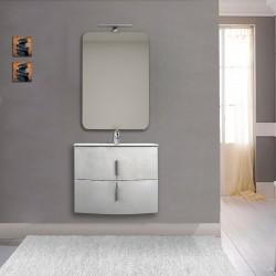 Mobile da bagno Sting 70 cm bianco lucido curvo sospeso + specchio con lampada e retroilluminazione led + altoparlante bluetooth