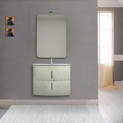 Mobile da bagno Sting 70 cm grigio natura curvo sospeso + specchio con lampada e retroilluminazione led + altoparlante bluetooth