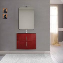Mobile da bagno Sting 70 cm rosso lucido curvo sospeso + specchio con lampada e retroilluminazione led + altoparlante bluetooth