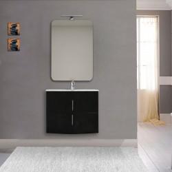 Mobile da bagno Sting 70 cm nero lucido curvo sospeso + specchio con lampada e retroilluminazione led + altoparlante bluetooth