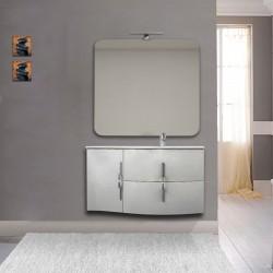 Mobile da bagno Sting bianco lucido con lavabo (DX) + specchio con lampada e retroilluminazione led + altoparlante bluetooth