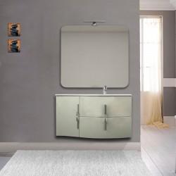 Mobile da bagno Sting grigio natura con lavabo (DX) + specchio con lampada e retroilluminazione led + altoparlante bluetooth