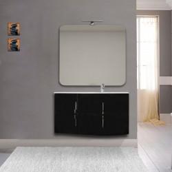 Mobile da bagno Sting nero lucido con lavabo (DX) + specchio con lampada e retroilluminazione led + altoparlante bluetooth