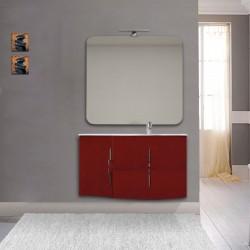 Mobile da bagno Sting rosso lucido con lavabo (DX) + specchio con lampada e retroilluminazione led + altoparlante bluetooth