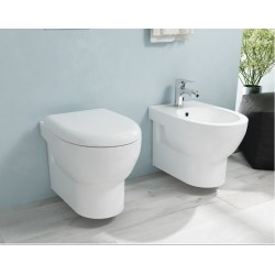 Sanitari sospesi senza brida Ceramica Azzurra Absolute wc + bidet + sedile soft close