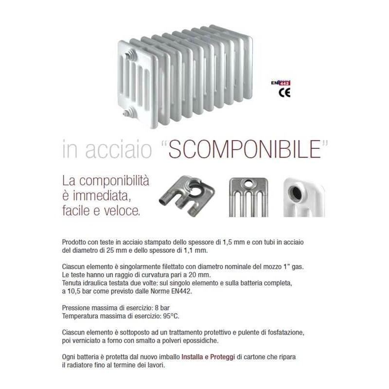 radiatore multicolonna ercoscomby 4 1800 in acciaio a 4