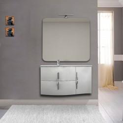 Mobile da bagno Sting bianco lucido con lavabo (SX) + specchio con lampada e retroilluminazione led + altoparlante bluetooth