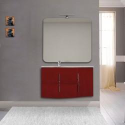 Mobile da bagno Sting rosso lucido con lavabo (SX) + specchio con lampada e retroilluminazione led + altoparlante bluetooth